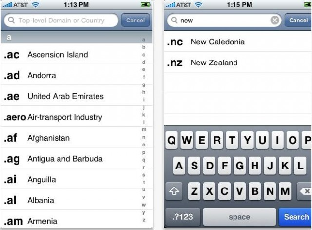 TLD Lookup Domain Name iPhone App